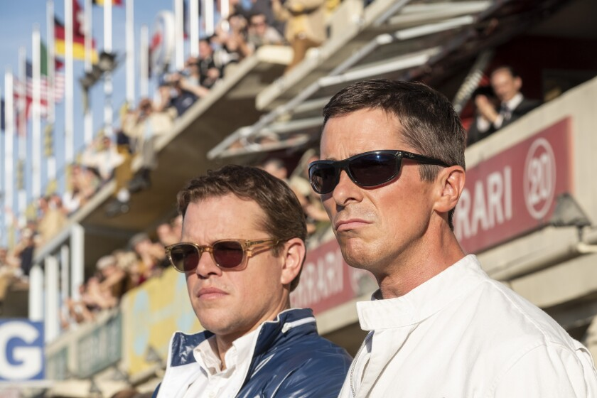 "Matt Damon, left, and Christian Bale in the movie ""Ford v Ferrari."""