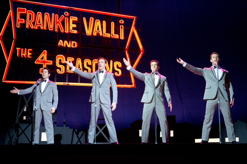 "Cast members of the Clint Eastwood film ""Jersey Boys,"" financed with a state tax credit."
