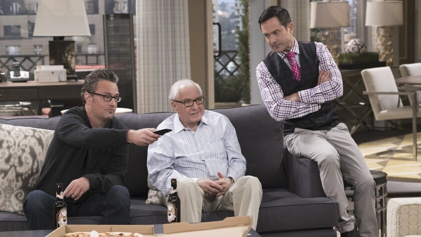 "Matthew Perry, left, Garry Marshall and Thomas Lennon in ""The Odd Couple"" on CBS"