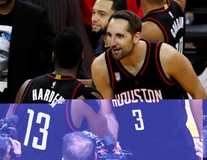 Los jugadores de los Houston Rockets Ryan Anderson (d) y James Harden celebran su victoria contra los Golden State Warriors en su partido de la NBA disputado en el Oracle Arena de Oakland, California (EE.UU.), el 1 de diciembre de 2016. EFE/Archivo