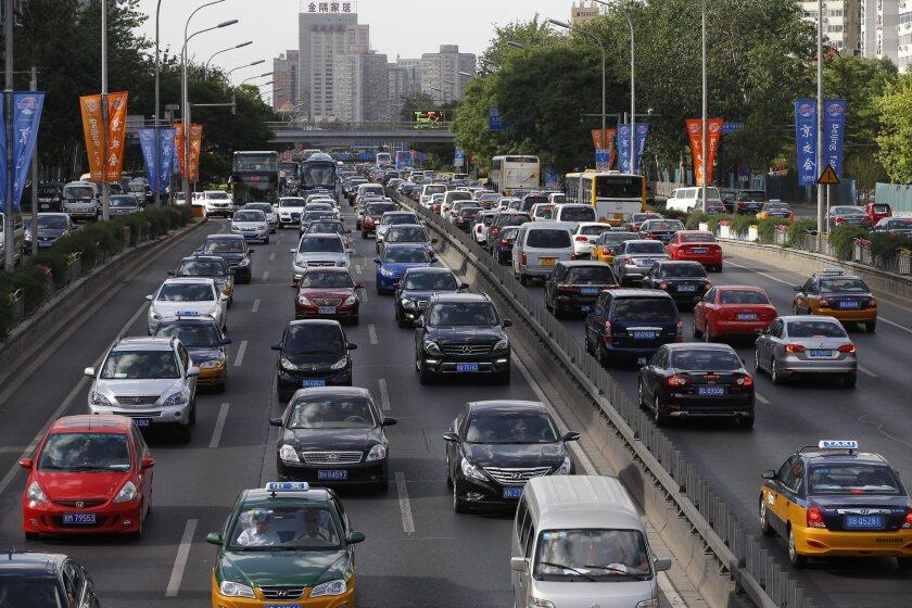 Chinese traffic jam in Beijing