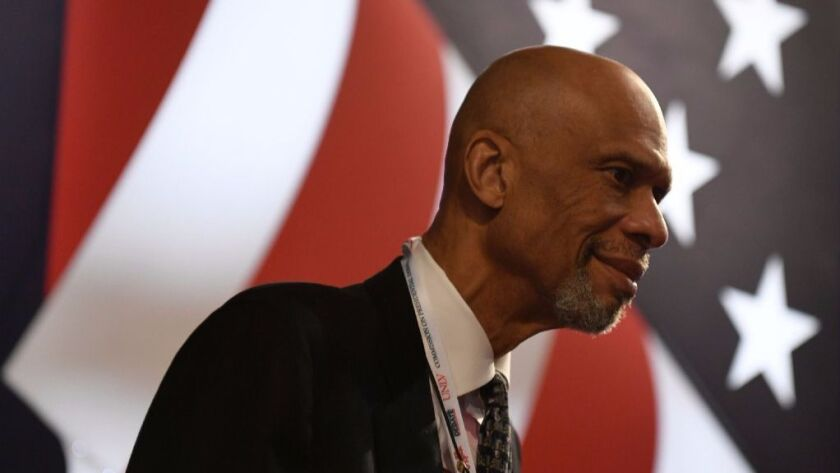 Basketball legend Kareem Abdul-Jabbar arrives for the final presidential debate at the Thomas & Mack Center on the campus of the University of Las Vegas in Las Vegas, Nevada on October 19, 2016.
