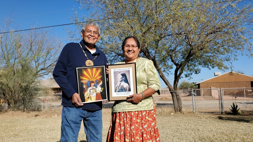 This photo provided by Debbie Nez-Manuel shows her husband, Royce Manuel, left and Nez-Manuel at their home at the Salt River-Pima Maricopa Community northeast of Phoenix on Saturday, Feb. 20, 2021. The couple will be among Native Americans who will be closely watching the confirmation hearing for Deb Haaland, a New Mexico congresswoman who has been nominated to lead the U.S. Department of the Interior, on Tuesday, Feb. 23, 2021. (Debbie Nez-Manuel via AP)