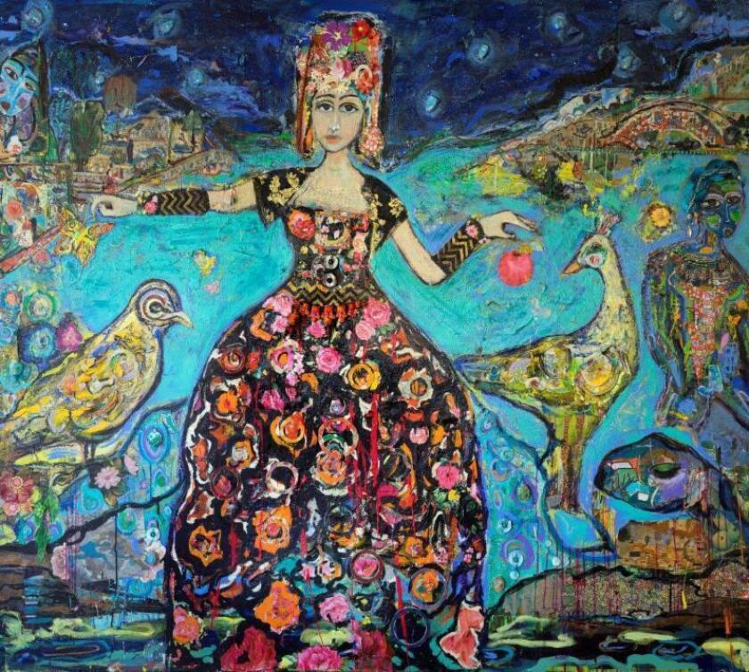 """Fariba Ameri, """"River of Eden,"""" mixed media on canvas. The artist will be one of 12 to be featured in the Advocartsy exhibition, """"Art Brief: Iranian Contemporary Los Angeles"""" at Arena 1 Gallery in Santa Monica."""