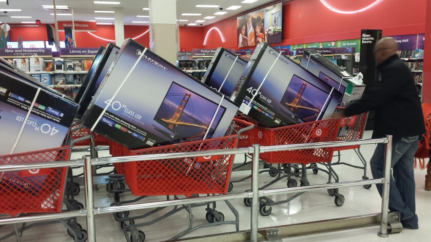 The Target in Eagle Rock pre-loaded 40-inch televisions into shopping carts in preparation for the Thanksgiving night rush.