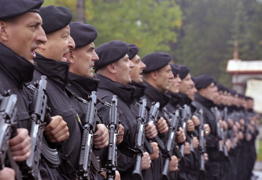 The ''Gendarmerie'', a new special police unit, lines up during the ceremony in Banja Luka, Bosnia, Tuesday, Sept. 24, 2019. Bosnian Serb politicians say the unit is part of police regrouping and modernization, but the country's Bosniaks warned it could fuel fear among other ethnic groups following the 1992-95 conflict that left 100,000 people dead. (AP Photo/Radivoje Pavicic)