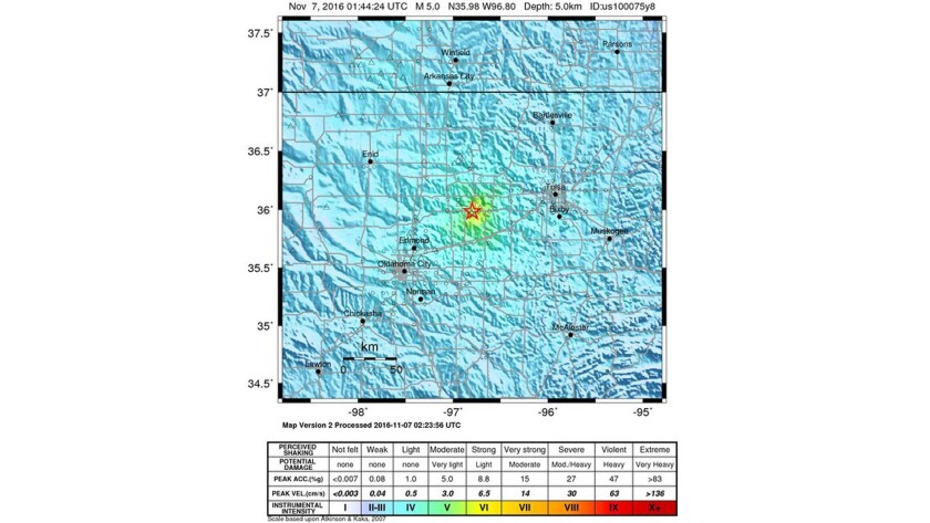 A handout released by the U.S. Geological Survey shows the location of a magnitude 5.0 earthquake that struck west of Cushing, Okla.