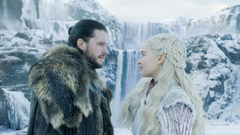 """(L-R)- Kit Harington and Emilia Clarke in a scene from Season 8 Episode one of """"Game of Thrones."""" Cr"""