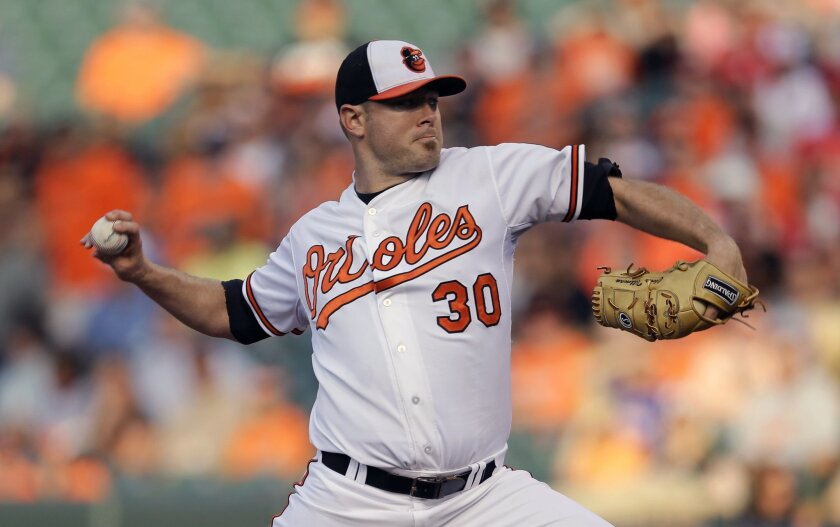 Baltimore Orioles starting pitcher Chris Tillman throws to the Philadelphia Phillies in the first inning of an interleague baseball game, Tuesday, June 16, 2015, in Baltimore. (AP Photo/Patrick Semansky)