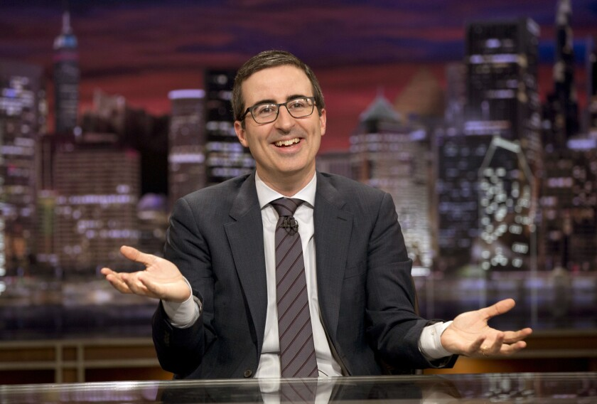 """John Oliver on """"Last Week Tonight"""" on Oct. 18, 2015. Oliver begins a new season of his comedy show Feb. 12."""