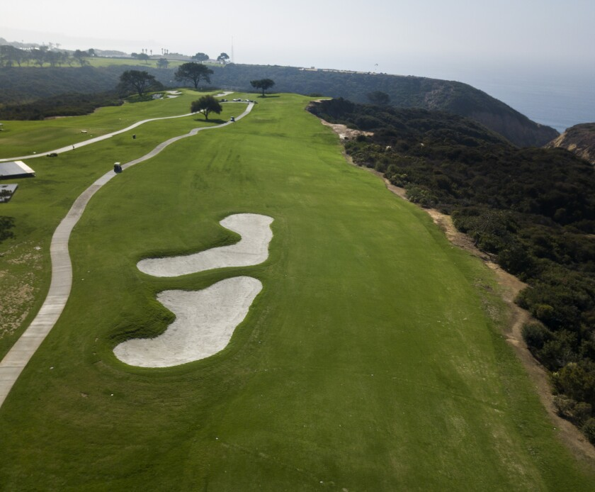 The 17th fairway at Torrey Pines South now hugs the canyon after the 2018 redesign by Rees Jones.