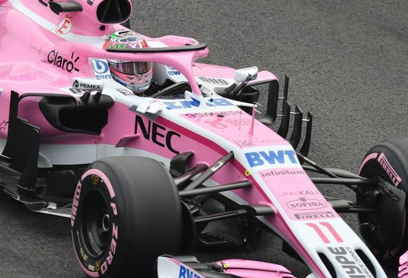 El mexicano Sergio Perez de Force India corre en la tercera sesión de prácticas hoy, sábado 27 de octubre de 2018, para el Gran Premio de México de Formula Uno, en el Autódromo Hermanos Rodríguez, en Ciudad de México (México). EFE