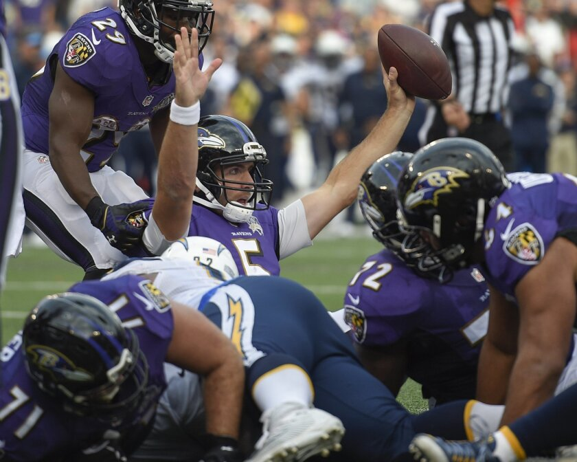 Baltimore Ravens quarterback Joe Flacco (5) holds up the ball after scoring a touchdown on a keeper during the second half of an NFL football game against the San Diego Chargers in Baltimore, Sunday, Nov. 1, 2015. The Ravens defeated the Charges 29-26. (AP Photo/Nick Wass)
