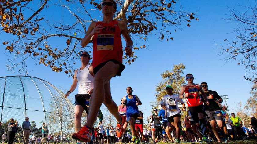The start of the 15K run for the San Diego Turkey Trot Run held in Bonita for the first time in 2014.