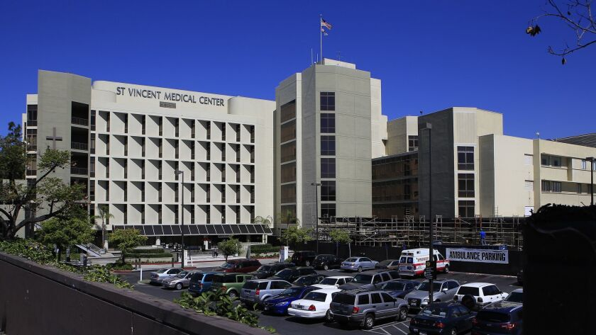 St. Vincent Medical Center in Los Angeles, pictured in 2014, is one of the four Verity Health System hospitals that could be acquired by KPC Group, pending approval from the state attorney general.