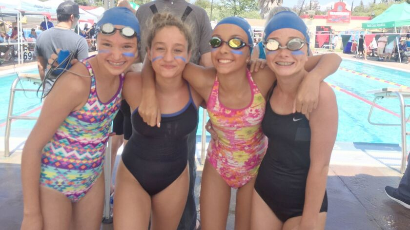 Ramona Swim Team members Camille Odenwalder, Heather Holden, Isabelle Buonaugurio, and Taylor Smith.