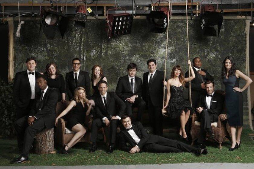 "The cast of the 38th season of ""Saturday Night Live,"" left to right: Tim Robinson, Jay Pharoah, Aidy Bryant, Kate McKinnon, Fred Armisen, Vanessa Bayer, Seth Meyers, Taran Killam, Bill Hader, Bobby Moynihan, Nasim Pedrad, Kenan Thompson, Jason Sudeikis, Cecily Strong. The 39th season kicks off Sept. 28 with ""SNL"" alum Tina Fey as guest host."