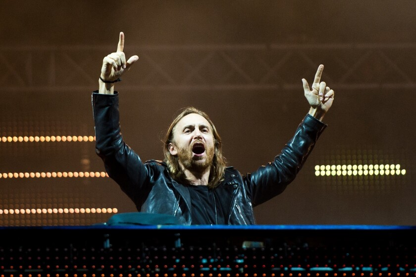 David Guetta performs during a concert at the Rock in Rio Festival in Rio de Janeiro.