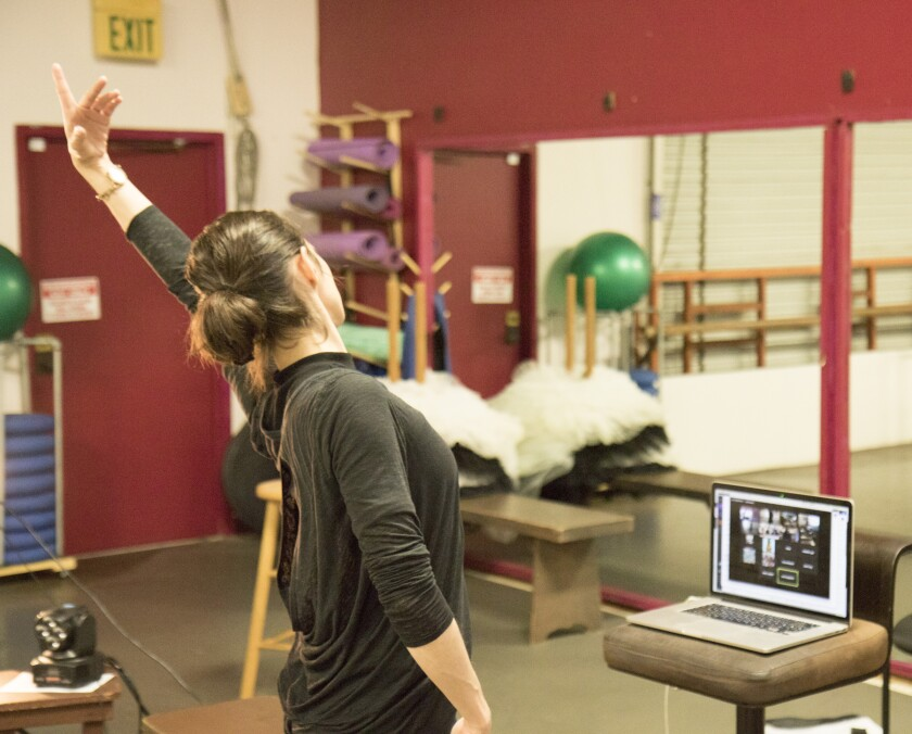 Southern California Ballet Co-Artistic Director Martha Leebolt teaching an interactive Zoom class due to the COVID-19 pandemic.