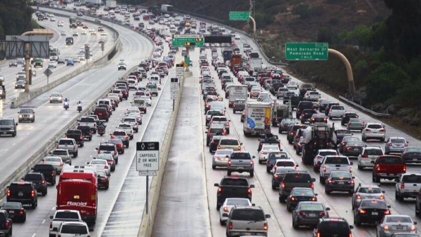 Traffic comes to a crawl on North Interstate 15 in Rancho Bernardo.