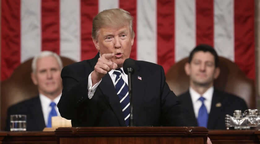 President Trump addresses a joint session of Congress on Feb. 28, 2017. Trump will deliver his first State of the Union address on Tuesday.