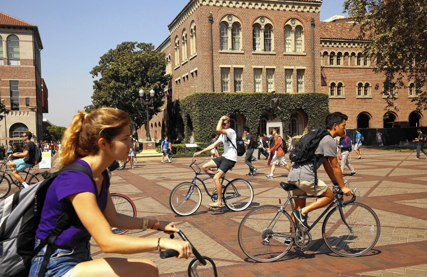 Summer programs for high school students that are offered by universities are held in much higher esteem by admission officers than privately run events, said Dakotah Eddy, assistant director of admissions consulting at Malibu-based Veritas Prep. Above, the campus at USC.