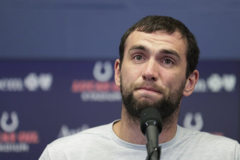 """A tearful Andrew Luck announces his retirement following a Colts exhibition game against Chicago recently. Luck said, """"I'm in pain. I'm still in pain."""""""