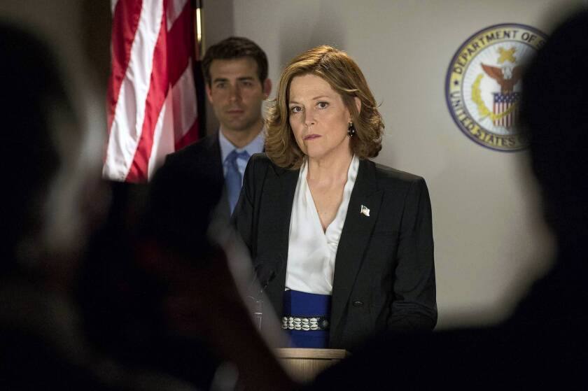 "James Wolk as Doug Hammond and Sigourney Weaver as Elaine Barrish in the mini-series ""Political Animals."""