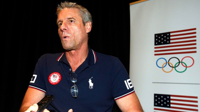 Karch Kiraly talks to reporters during a USOC Olympic media summit last month in Beverly Hills.