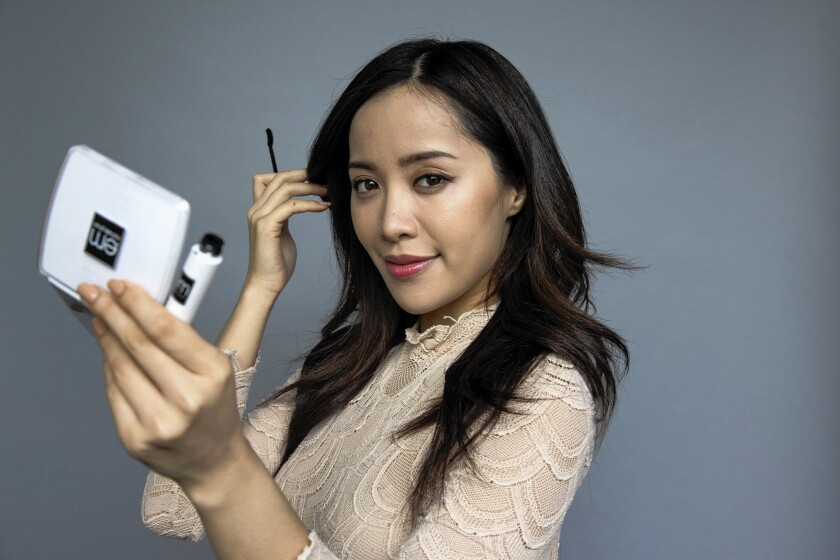 YouTube star Michelle Phan is photographed with her L'Oreal makeup line at Ipsy Studios in Santa Monica.