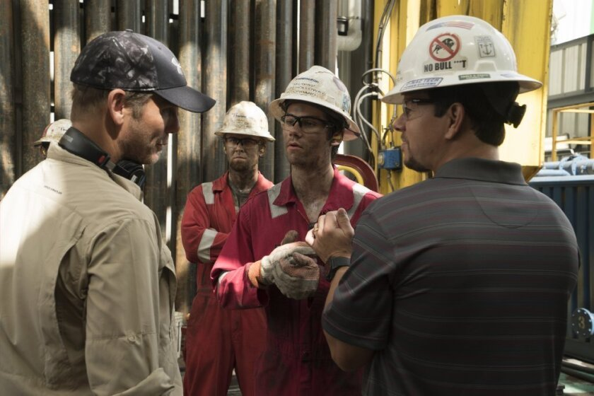 """Director Peter Berg, left,  and Mark Wahlberg on the set of """"Deepwater Horizon."""""""