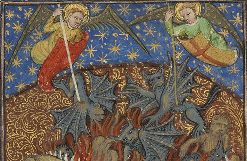The Fall of the Rebel Angels; Unknown; Avignon (probably), France; about 1430; Tempera colors, gold