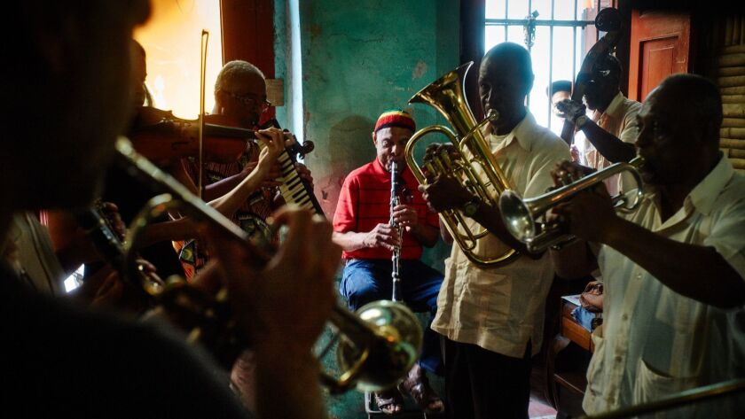 "Jazz musicians jam in the documentary ""A Tuba to Cuba."""
