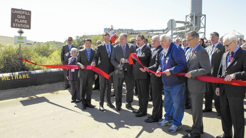 An opening ceremony for the Bowerman Landfill's power plant included a ribbon cutting Tuesday.