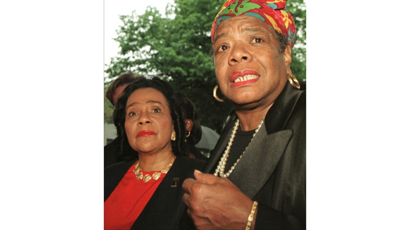 Coretta Scott–King (L), widow of slain civil rights leader Martin Luther King Jr., and Maya Angelou