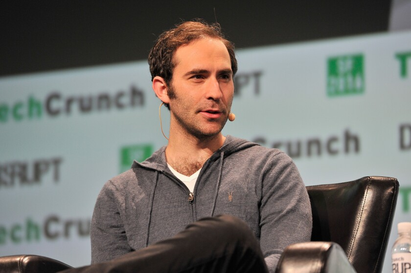Twitch Chief Executive Emmett Shear speaks during an event Sept. 14 in San Francisco about the Amazon.com-owned streaming video service.