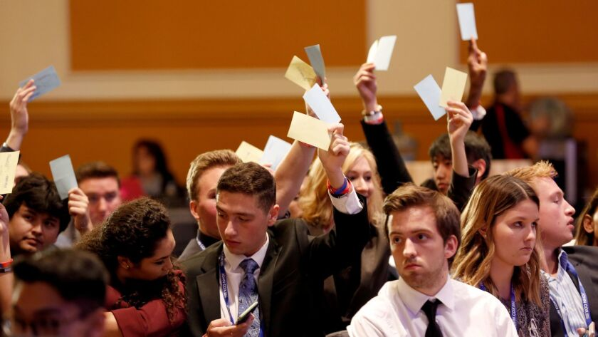 GOP college students vote on new leadership at the California Republican convention in Anaheim.