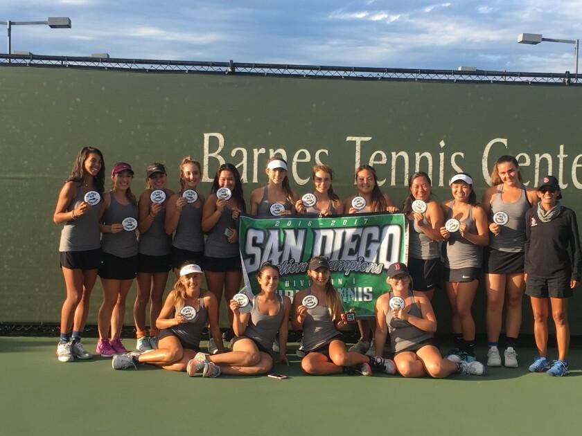 LJHS CIF-winng girl's tennis team