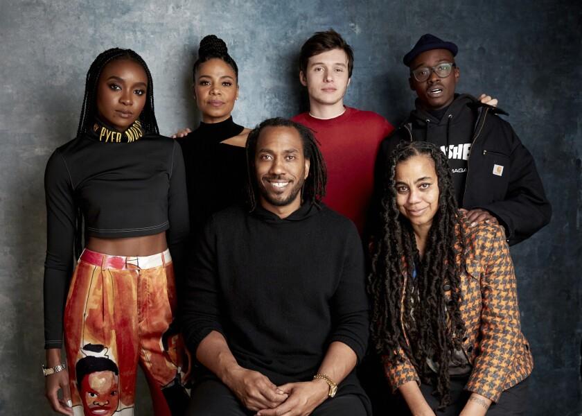 "From left, Kiki Layne, Sanaa Lathan, director Rashid Johnson, Nick Robinson, writer Suzan-Lori Parks and Ashton Sanders promote ""Native Son"" at the Sundance Film Festival on Jan. 25."