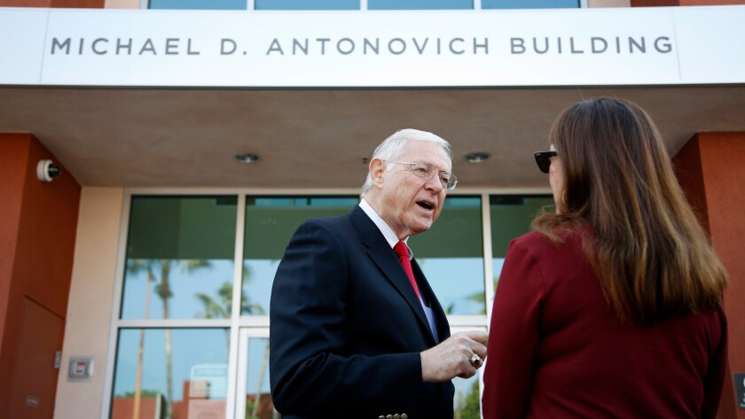 County Supervisor Michael D. Antonovich, who will depart the board after 36 years, outside a mental health services building in Glendale that bears his name.