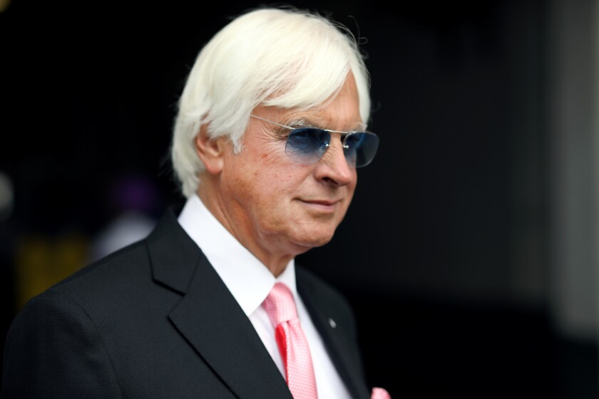 Bob Baffert looks on before the Kentucky Oaks at Churchill Downs on May 3, 2019, in Louisville, Ky.