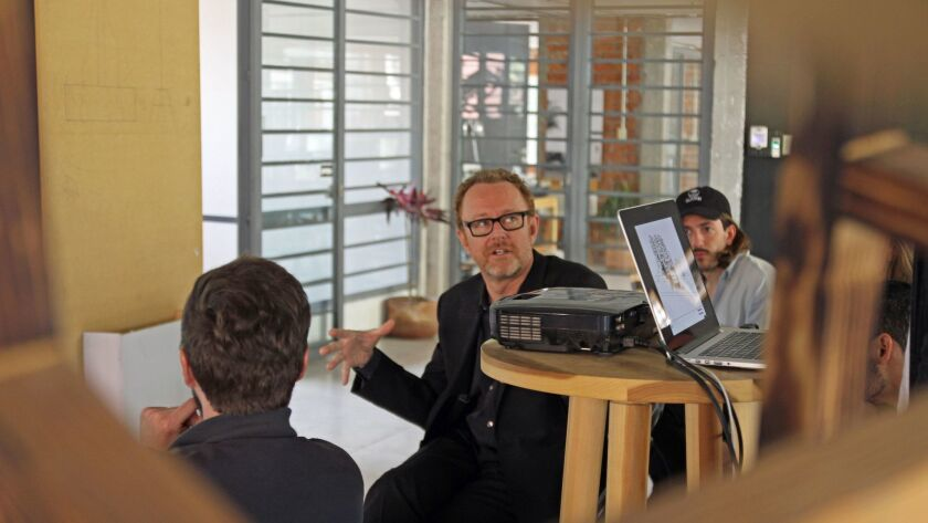 SCI-Arc's John Enright, center, helps lead an architecture studio in collaboration with a colleague from the Universidad Iberoamericana in Mexico City.