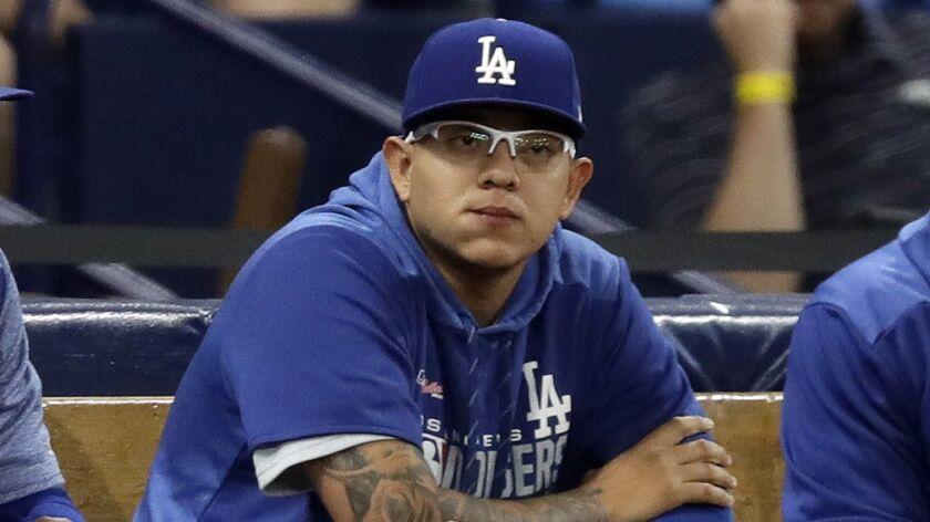 Julio Urias, at a game against the Tampa Bay Rays in Florida, exactly one week after his May 14 arrest.