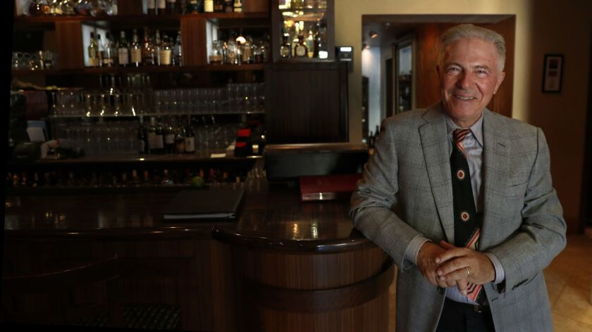 Piero Selvaggio, owner of Valentino restaurant in Santa Monica, is photographed inside the bar on Oct. 20, 2017. Selvaggio has announced plans to close the restaurant at the end of the year, and open an Italian restaurant in Newport Beach.
