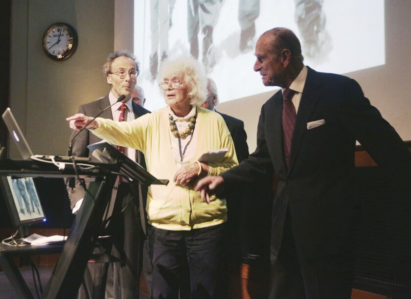 Jan Morris, with the Duke of Edinburgh, right, at a celebration of the 60th anniversary of Everest's ascent in 2013.