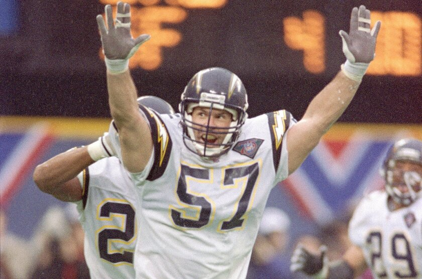 This is what it looked like -- linebacker Dennis Gibson celebrating his own play that secured San Diego's only Super Bowl berth in 1995 -- the last time the Chargers won in Pittsburgh. They return to Pittsburgh with an 0-14 road record in regular-season games against the Steelers.