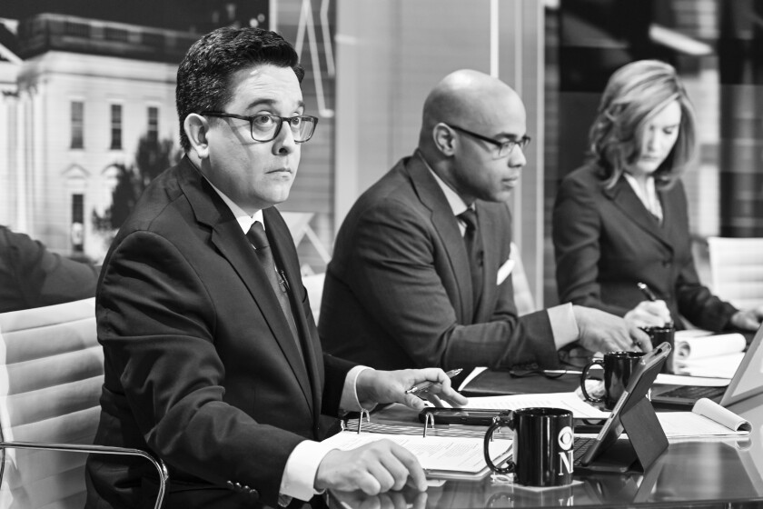 CBS correspondent Ed O'Keefe, left, with election night colleagues Jamal Simmons and Margaret Brennan