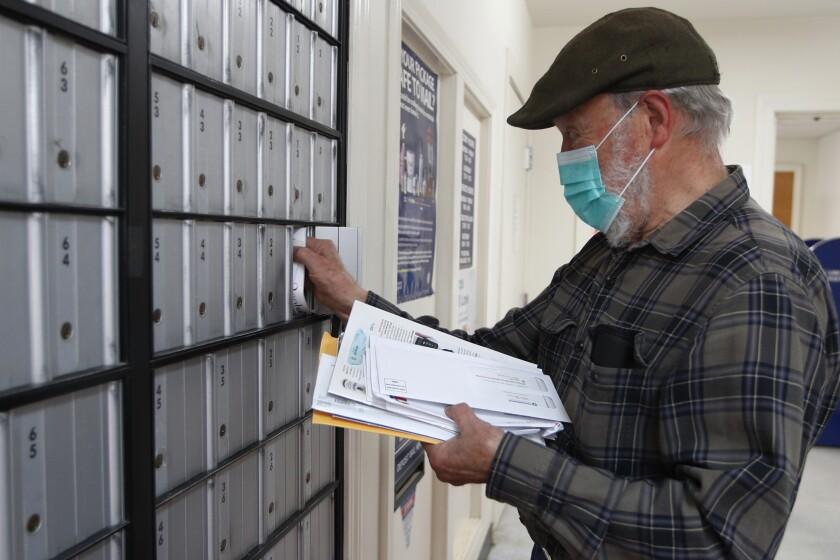 Customer at post office on Deer Isle, Maine