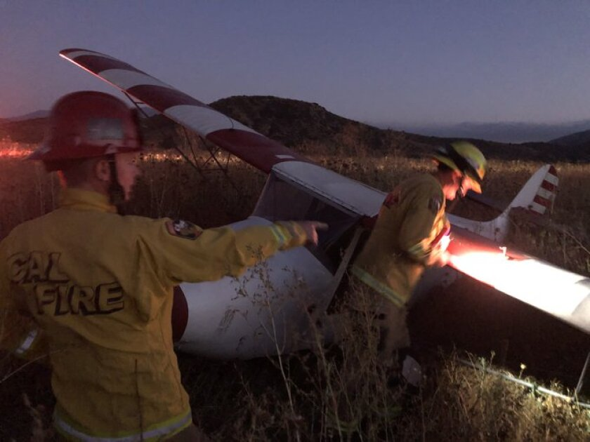 Cal Fire San Diego firefighters respond Wednesday night after a small plane crash landed near Jamul Casino.