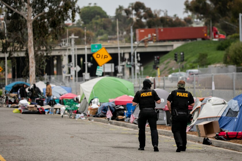 Oceanside police cleared this homeless encampment near Oceanside Boulevard on April 13.